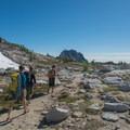 Prusik Peak and Mount Temple (right).- Prusik Peak: West Ridge