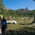 Heading up to Prusik Pass.- Prusik Peak: West Ridge