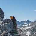 Cleaning anchors above the second pitch.- Prusik Peak: West Ridge
