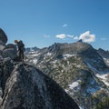 The third pitch is a Class 4 traverse.- Prusik Peak: West Ridge