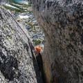A short chimney finishes off the climb.- Prusik Peak: West Ridge