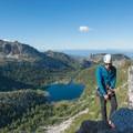 Rappeling with views of Shield Lake.- Prusik Peak: West Ridge