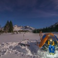 Great camping locations at the base of Broken Top allow for easy access.- Broken Top: Clock Couloirs