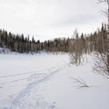 Dog Lake covered in snow.- Mill D North to Dog Lake Snowshoe