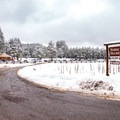 Entrance to the Arizona Nordic Village on US-180 north of Flagstaff.- Arizona Nordic Village