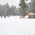 Yurts provide the ultimate access to trails and snow play.- Arizona Nordic Village