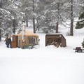 Firewood, a wood stove, and grill are provided at each yurt.- Arizona Nordic Village Cabins + Yurts