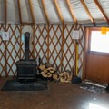 Inside one of the large backcountry yurts.- Arizona Nordic Village Cabins + Yurts