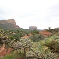 Courthouse Butte (5,439 ft, at center) as seen from the parking area, walking up to the chapel.- Chapel of the Holy Cross