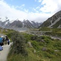 Approaching the first suspension bridge.- Hooker Valley Track