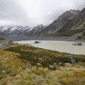 The view from the west side of Hooker Lake.- Hooker Valley Track