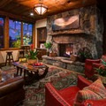 Fireplace in the main lodge. Photo courtesy of Cedar Glen Lodge.- Cedar Glen Lodge