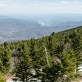 View to the east from the summit tower.- Mount Mitchell via Black Mountain Campground