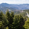 View from the Mount Mitchell summit: Clingmans Peak to the south (not to be confused with Clingmans Dome, the highpoint of Tennessee).- Mount Mitchell via Black Mountain Campground