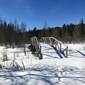 Looking back on the bridge after crossing. - North Country Trail, Shingobee Recreational Area