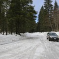 Parking at the Trail of Two Forests Interpretive Site.- Ape Cave Snowshoe