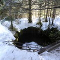 Lower Ape Caves entrance in the winter.- Ape Cave Snowshoe