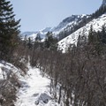 The first time you start heading south on the main stretch toward the lake.- Lake Blanche Snowshoe
