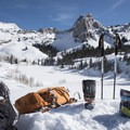 Enjoying a quick lunch with views of Lake Blanche and Sundial Peak.- Lake Blanche Snowshoe