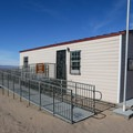 Small visitor center and information kiosk upon entering the dunes site.- Dumont Dunes