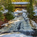 Lower Amnicon Falls at spring flow.- Amnicon Falls State Park