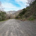 The shoulder on the right is the parking area for this hike.- Trabuco Falls