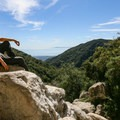 Views from the boulders at the base of the falls. The Channel Islands are visible from here.- Tangerine Falls