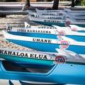 Racing outrigger canoes at Kona Beach.- Kona Beach, 'Ahu'ena Heiau + Kailua Pier