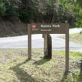 Harms Park sign along Row River Road.- Harms Park, Dorena Reservoir