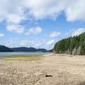 Low water levels at Dorena Reservoir.- Harms Park, Dorena Reservoir