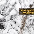 MacNaughton summit sign.- MacNaughton Mountain Snowshoe via the Wallface Ponds