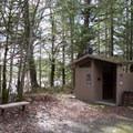Vault toilets near the Dorena Dam Trailhead.- Row River National Recreation Trail