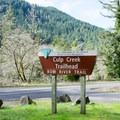 Row River Trail's end at Culp Creek.- Row River National Recreation Trail