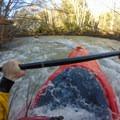 Splashing through a small wave.- Big Sur River: Gorge to Andrew Molera