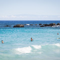 The ocean floor slopes gently in, so the beach is a friendly place to swim.- Manini'ōwali Beach