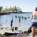 A small beach area is good for children because it is so protected.- Pae'a / Two Step at Hōnaunau Bay