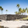 The Great Wall of the Pu'uhonua is 18 feet wide, 950 feet long, and constructed from innumerable hand-placed lava rocks.- Pu'uhonua O Hōnaunau National Historical Park