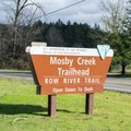 Mosby Creek Trailhead sign just outside of Cottage Grove.- Mosby Creek Trailhead