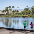The fish pond behind the A-Bay beach. The Waikoloa Marriott sits behind the pond. - 'Anaeho'omalu Bay / A-Bay Beach