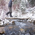 One of the creek crossings along the Heughs Canyon Snowshoe.- Heughs Canyon Snowshoe