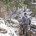 Walking along the creek in the Heughs Canyon Snowshoe.- Heughs Canyon Snowshoe