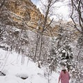 Dramatic canyon walls along the Heughs Canyon Snowshoe.- Heughs Canyon Snowshoe
