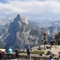 Late summer crowd at Glacier Point in Yosemite National Park.- Panorama Trail