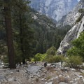 The Panorama Trail merges with the Mist Trail.- Panorama Trail via Glacier Point