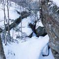 Looking down the Clara Bow Trail- Taylor Lodge Snowshoe via Nebraska Notch