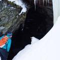 Peaking into the tunnel on the Clara Bow Trail- Taylor Lodge Snowshoe via Nebraska Notch