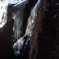 Ice occasionally locks up the ladder at the far end of the tunnel- Taylor Lodge Snowshoe via Nebraska Notch