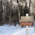 Looking back at the signage for the Clara Bow Trail- Taylor Lodge Snowshoe via Nebraska Notch