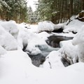 The stream tumbles over rocks and between sheets of ice.- Journey's End