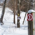 Snowshoe trails intersect with the cross-country ski trails.- Smuggler's Notch Nordic Center